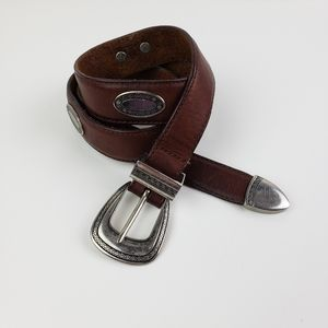 Boho Western  Leather Silver Tip & Concho Belt